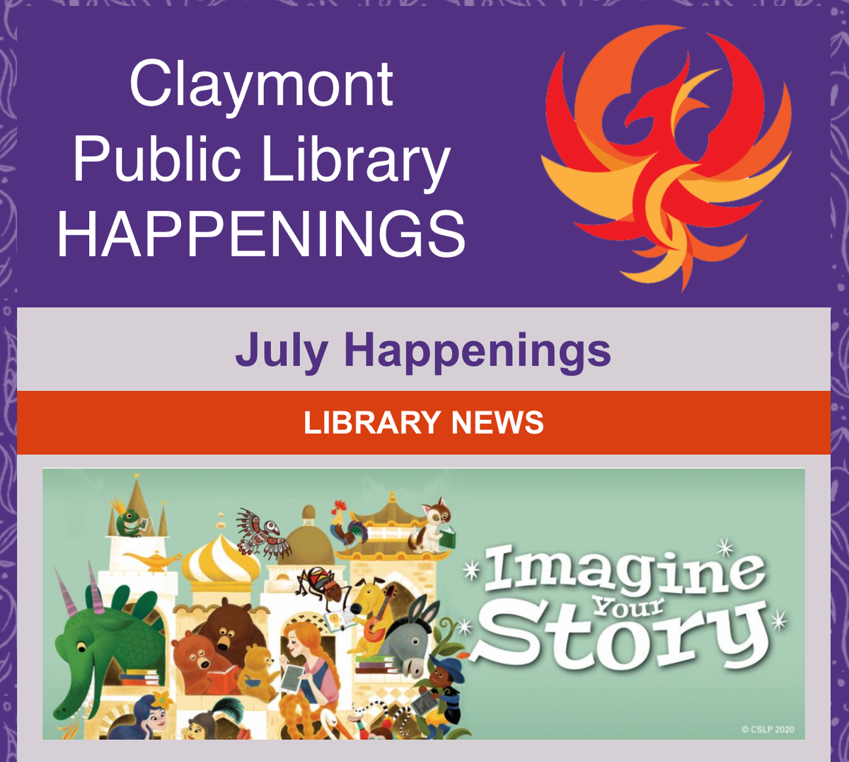The JULY HAPPENINGS are here! Click the link to read our monthly newsletter >> https://t.co/rAN8QDLrJX  Did you know that Claymont Library has a Newsletter? You can sign up here >>> https://t.co/hfc6OSpTfu  #Newsletter #LibraryNews #VirtualHappenings #VirtualWhatsHappening https://t.co/G80YXzvXb2