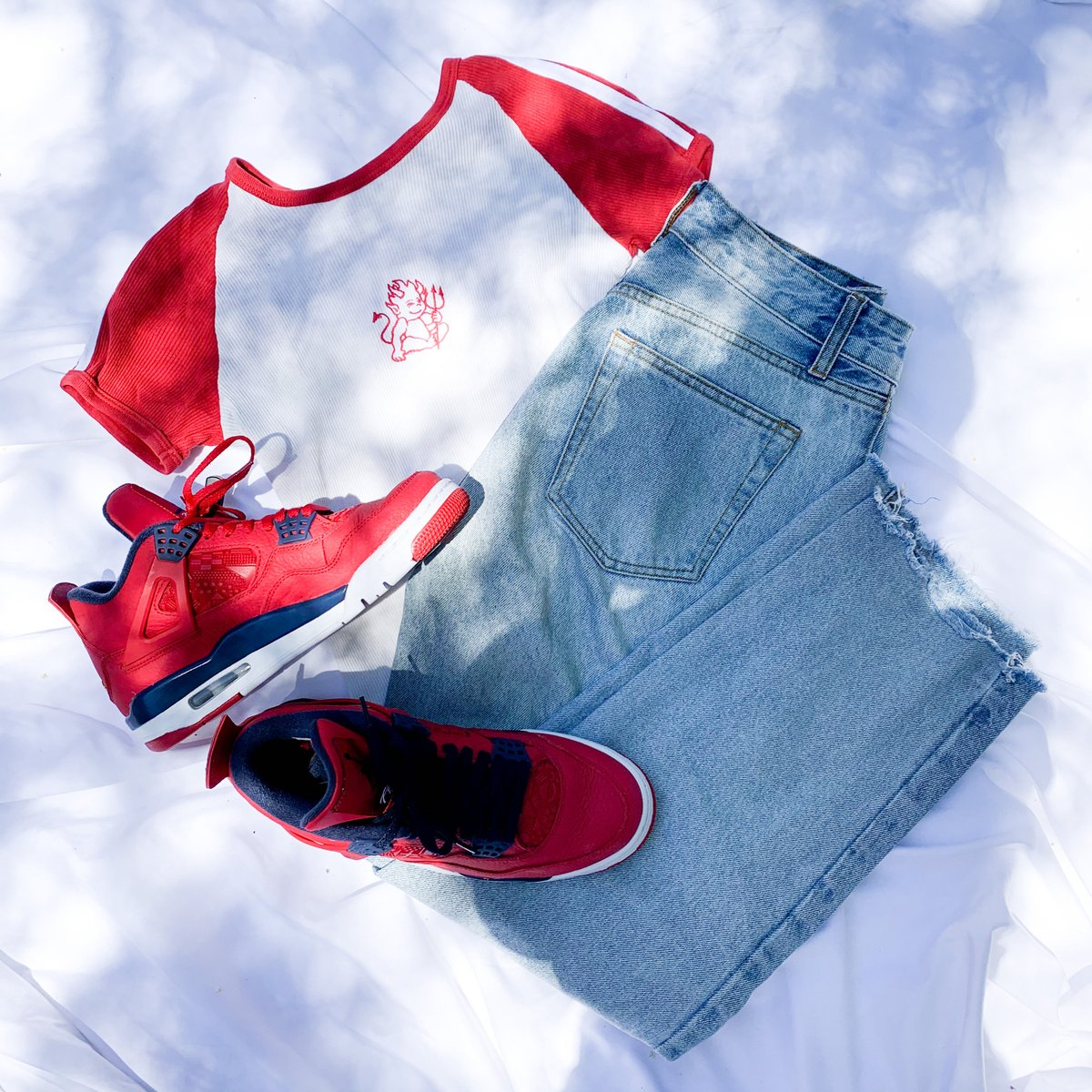 Red denim outfit  Jordan 8 $45 John galt Pants $22 John Galt T-shirt  S $12 #platoscloset #platosclosetemecula #gentlyused #musthave #shop #loveit #temecula #murrieta #fashion #hemet #riverside #fresharrivals #ontrend #lookbook #lookgood #style #styleinspo