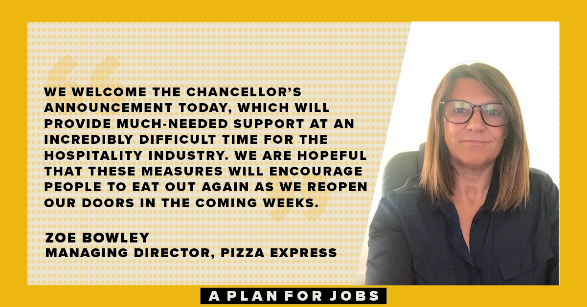 Here's why @PizzaExpress are welcoming the schemes announced this week in the government's #PlanForJobs. https://t.co/7NyZ2yJSGi