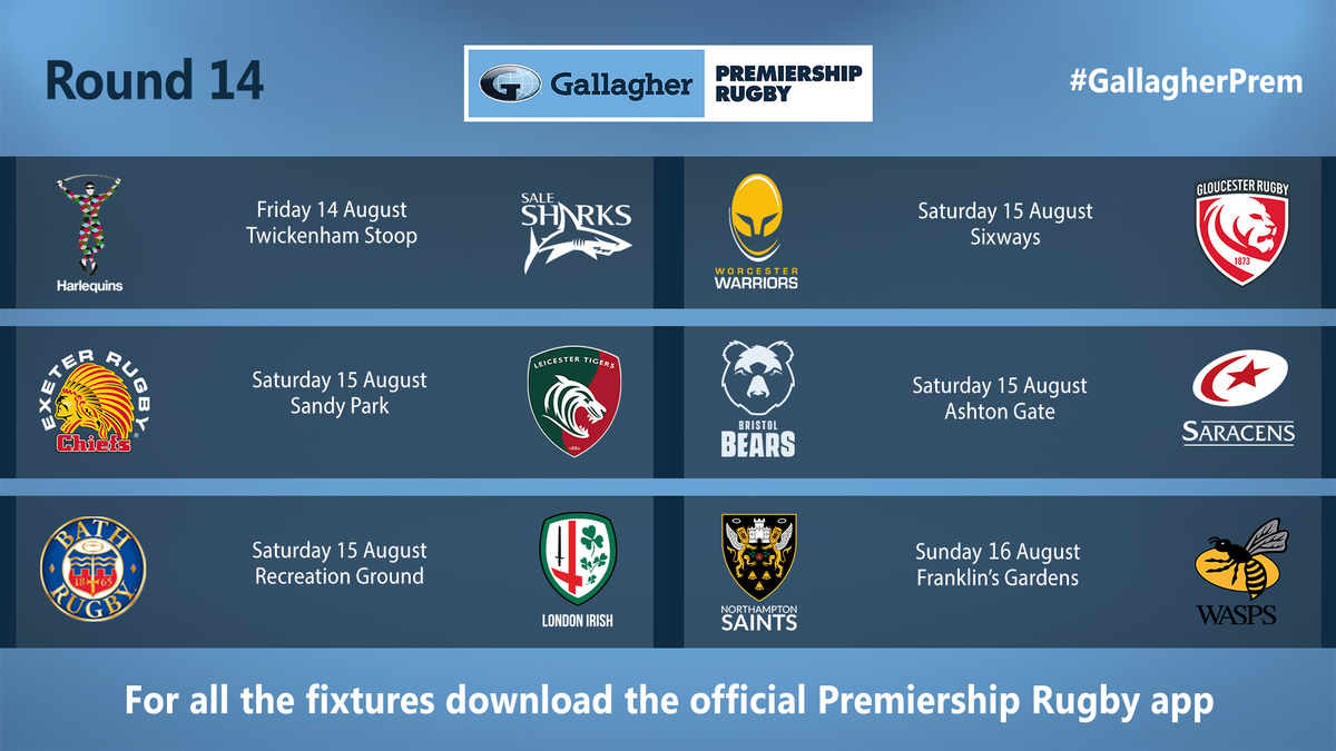 test Twitter Media - It's official... #PremRugby returns on August 14th 🙌  Mark your calendars, we've got some cracking matches coming up in the first round of fixtures! https://t.co/t4DQmHFJm7