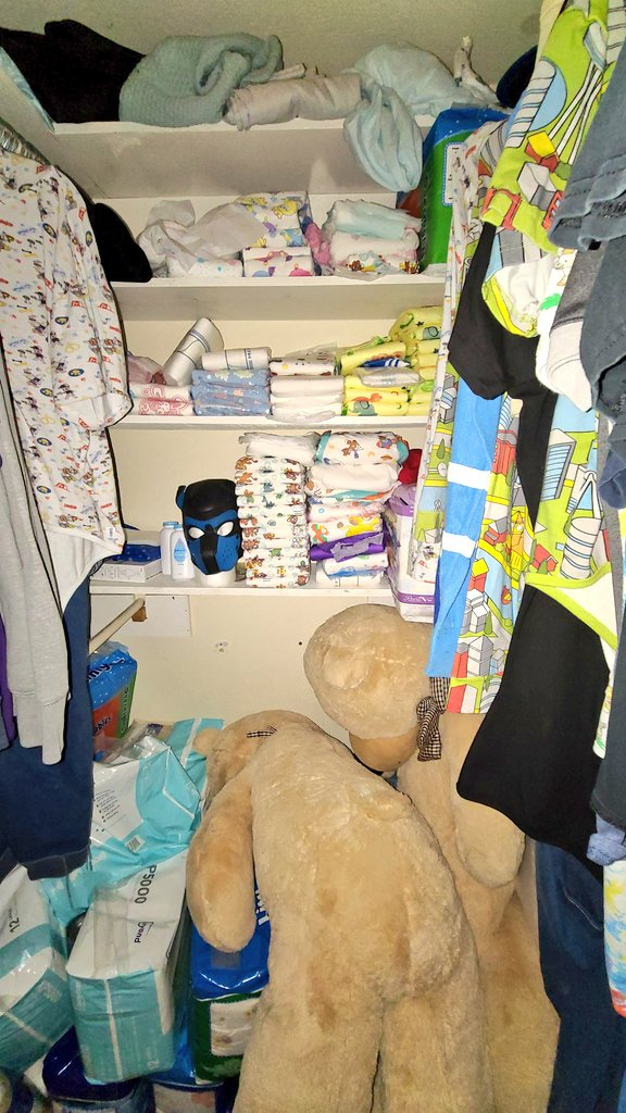 Diaper stash is getting a bit cluttered... guess its about time for a closet cleaning.  #abdl #abdlboy #abdlcommunity #abdllifestyle #diaperstash #gaydiaperboy #ddlb https://t.co/M3Nf7biVyg