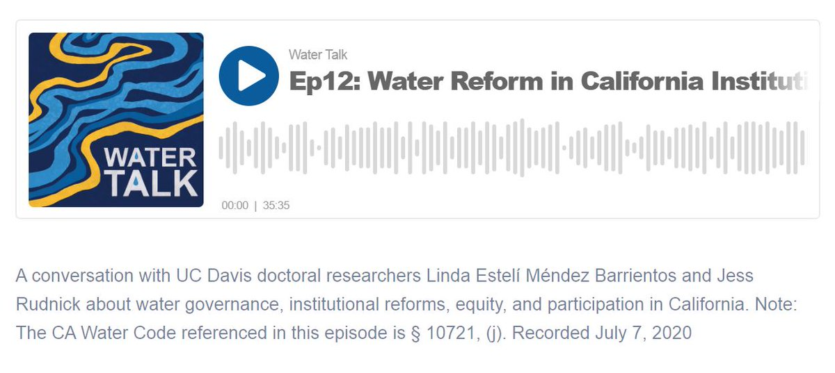 The latest episode of Water Talk is out! Featuring @riodesangre and @jess_rudnick discussing their research on #groundwater, nutrient management, water governance, and more with @mallika_nocco @frkearns and @samuelsandoval https://t.co/P0pvf5S5xf #CAwater https://t.co/ijywWhcIMB