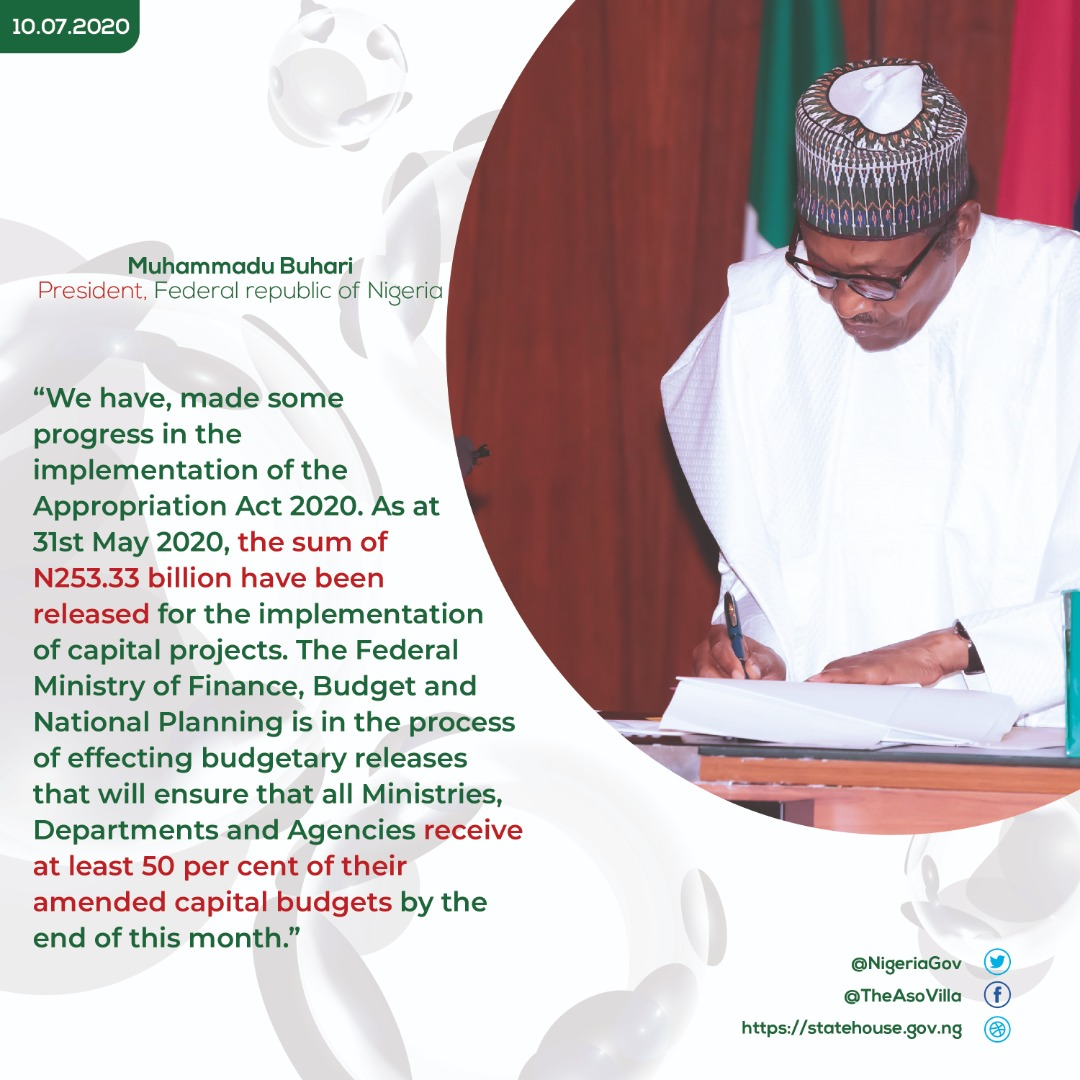 """""""We needed to reallocate resources in the Appropriation (Repeal and Amendment) Act, 2020 to ensure effective implementation of required health and emergency measures.""""- President @MBuhari https://t.co/agrtEys4PG"""