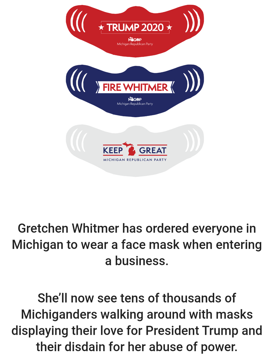Michigan Republican Party responds to Gov. Gretchen Whitmer's new mask order... with new masks