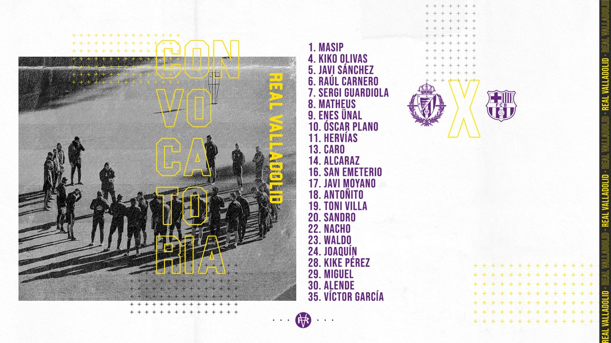 LA CONVOCATORIA | 📰💜 Estos son los futbolistas citados por Sergio González para el encuentro de mañana ante el @FCBarcelona_es  #pucela #RealValladolid