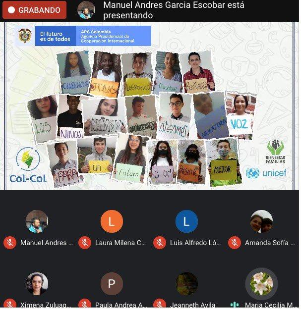 #SinViolenciasContraLaNiñezColCol Los NNA agradecen a @APCColombia @ICBFColombia @UNICEFColombia por darles la oportunidad de estar en este intercambio, y escuchar sus opiniones https://t.co/Hjd7B5JD3T