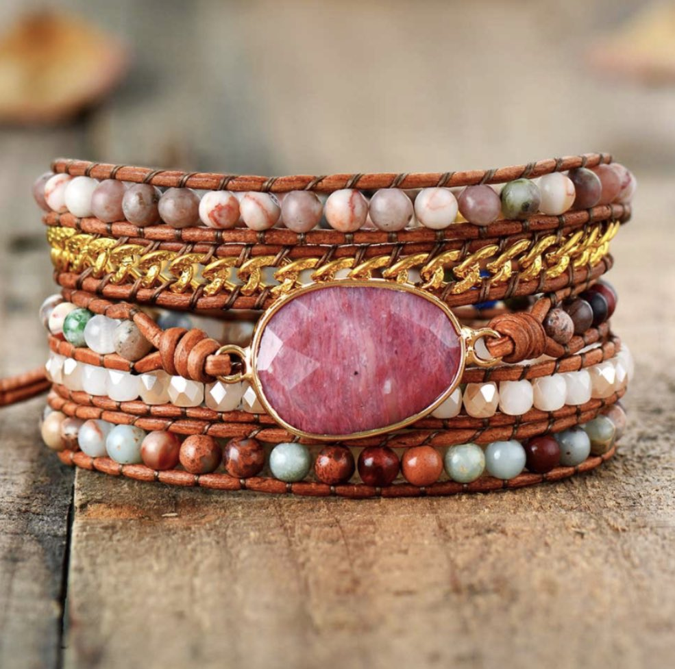 Natural Gemstone Rhodonite | Jasper Geode Beaded Leather Pink Wrap Bracelet https://egretjewellery.co.uk/products/natural-gemstone-rhodonite-jasper-geode-beaded-leather-pink-wrap-bracelet …  #stackingbracelet #gemstonejewellery #gemstonejewelry  #jewelrylovers #jewelryaddict #jewellerylovers #jewelleryaddict #wrapbracelet #braceletstacks #bracelet #bohojewellerpic.twitter.com/3I4zzggYcO