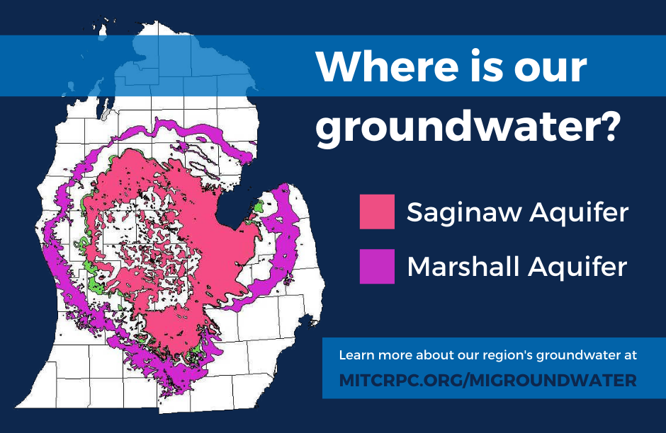 Ever wondered where your #groundwater resources come from? The answer is aquifers! In the tri-county region we pump almost all our water from the Saginaw and Marshall aquifers, illustrated on this map from @GEOatMSU.   Visit https://t.co/Gfq4dGdvkm to learn more! https://t.co/av4s15dMuw