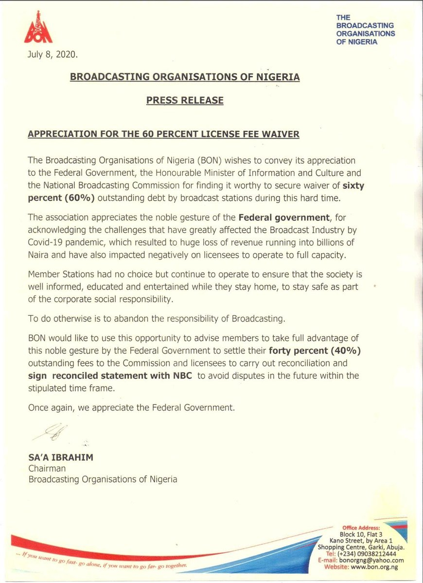 Broadcasting Organization of Nigeria(BON) appreciates FG for waiver of 60% outstanding debt owed by Broadcast stations. https://t.co/PgXmyHJbsd https://t.co/edXzaIcgx2