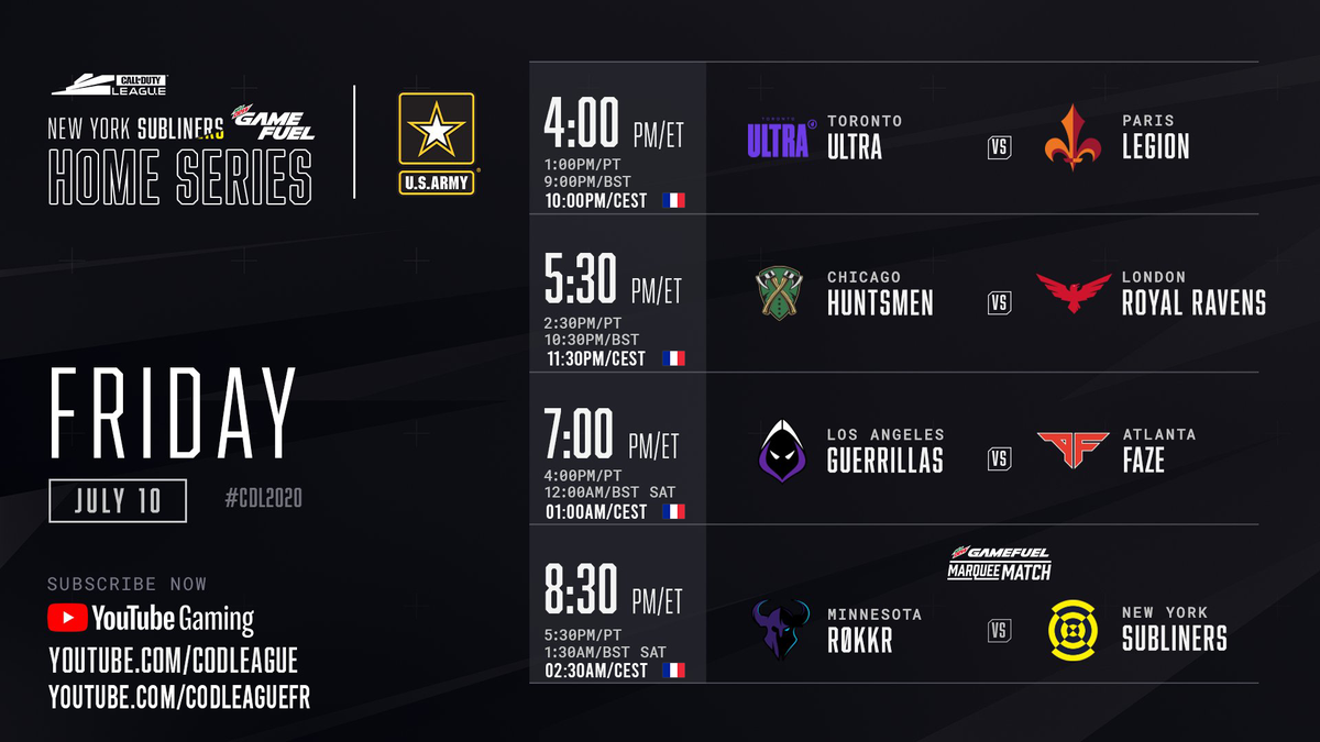 🇫🇷 Les NY @Subliners Home Series commencent dans 1h ! On ouvre les hostilités contre Toronto Ultra. 📺 YouTube.com/CODLeagueFR 🇬🇧 The NY @Subliners Home Series start in 1h! Well start the fire against Toronto Ultra. 📺 YouTube.com/CODLeague #EnGarde | #CDL2020