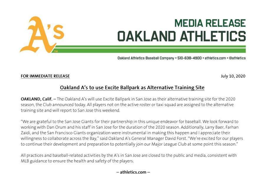 #LosAtléticos utilizarán el Excite Ballpark en San José como un lugar alterno de entrenamiento para la temporada 2020. https://t.co/ygar16IZKb