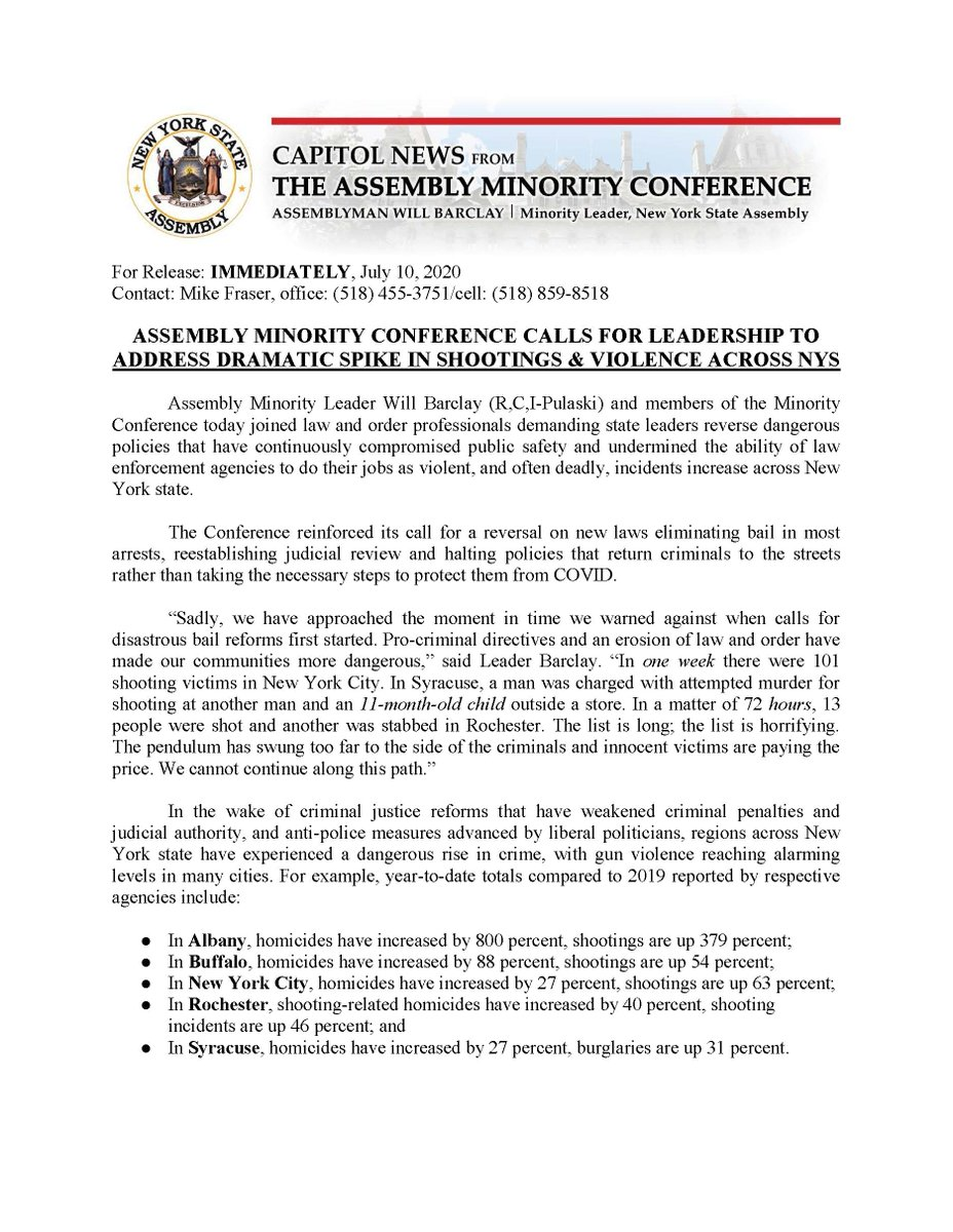 Assembly Minority Conference Calls for Leadership to Address Dramatic Spike in Shootings & Violence Across NYS