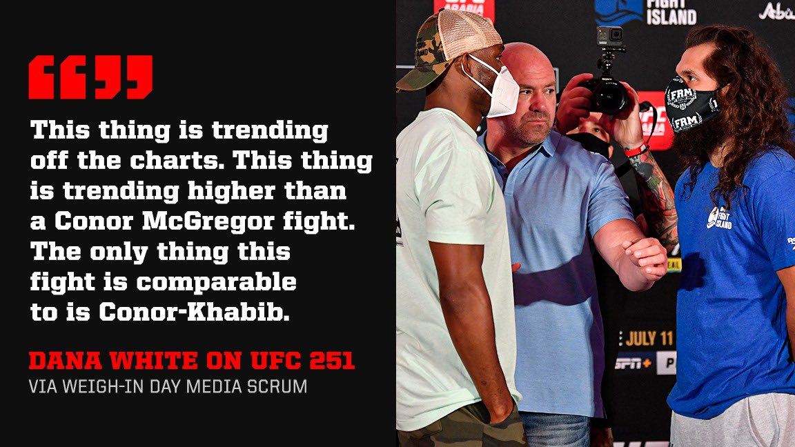"""Dana White says interest in #UFC251 is """"off the charts"""" 👀"""