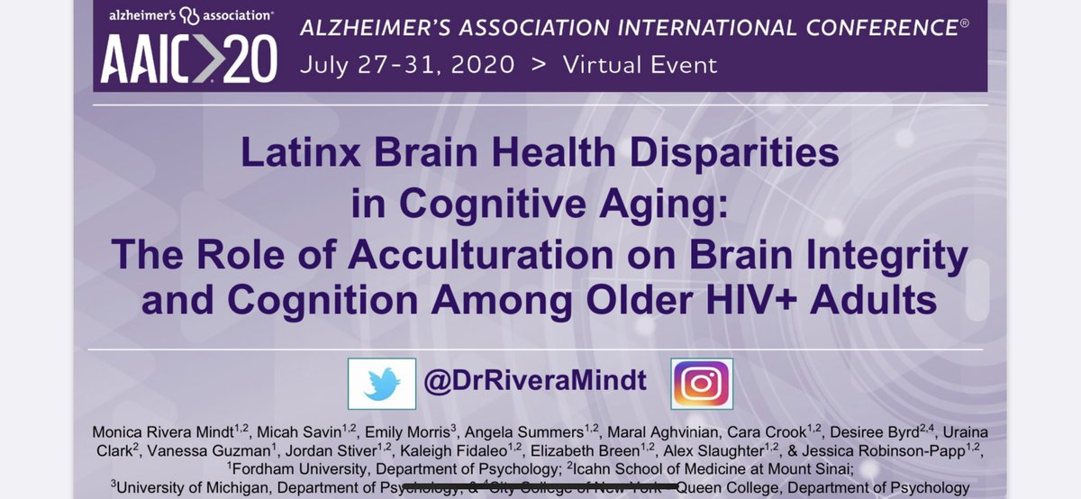 Be sure to catch @DrRiveraMindt👸🏾present on the #SALUDLab's amazing work at @alzassociation #AAIC2020  We describe #Latinx 🇵🇷 disparities in #Brain #Health and the role of acculturation among #Diverse #HIV+ #OlderAdults  We move forward as one 👊🏽 💕 💥 https://t.co/DmVMQ7yRwM