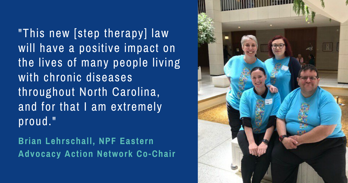 Earlier this month, @NC_Governor signed #steptherapy protections into law in North Carolina. This wouldn't be possible without @NPFbrian and other #NPFadvocacy volunteers! Read the full details here: psoriasis.org/media/press-re…
