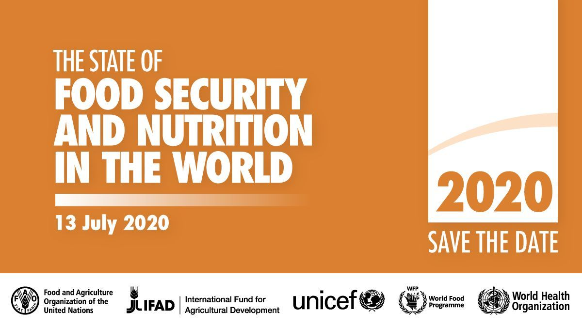 📅 #SaveTheDate | Launch the State of Food Security and Nutrition in the World 2020  Is the world on track to achieve #ZeroHunger?   Find out on 13 July at 10 am EDT. Register now: https://t.co/iulubVeuUs https://t.co/a0MAKna5R7