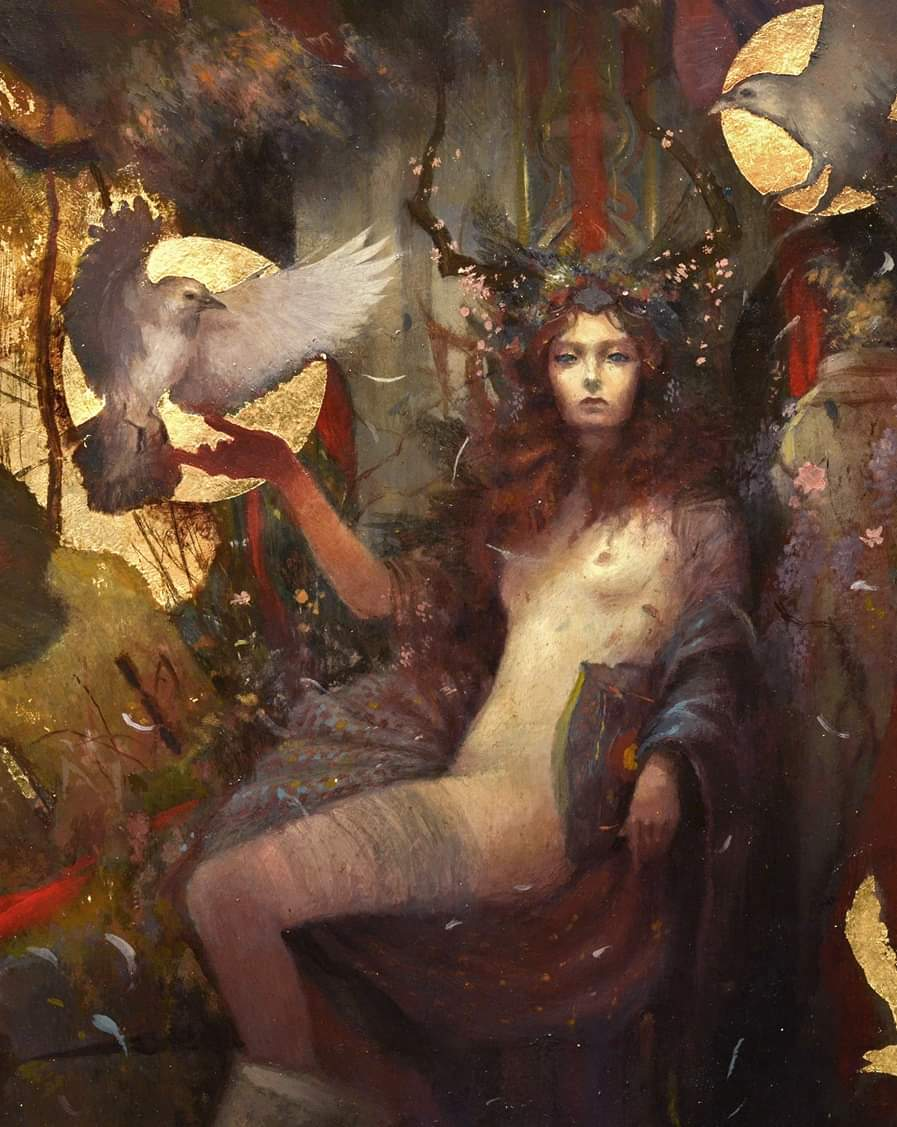 🌟 La Morrigan will of course be part of my artbook. It was the second time that I represented the fascinating goddess. I made the choice to accompany her with white crows, psychopump animals that travel between the worlds. 🌙