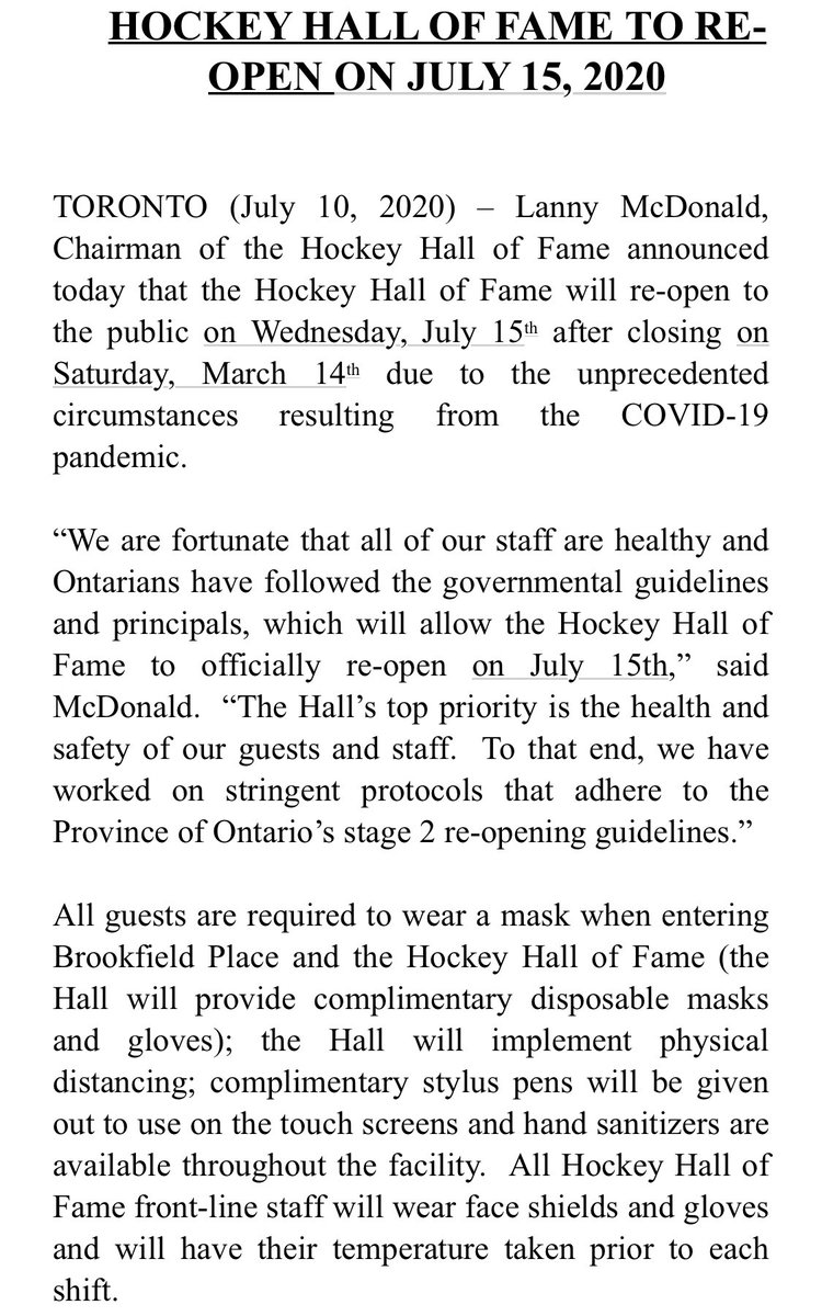 Nature is healing. The Hockey Hall of Fame is reopening.