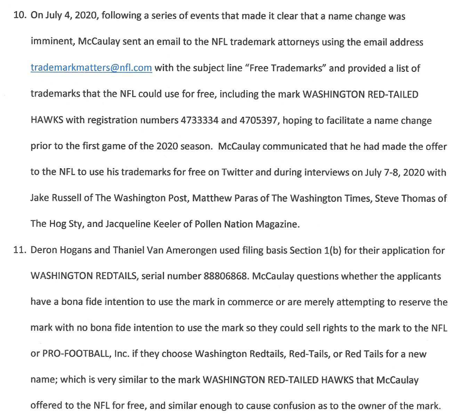 Here's a trademark opposition over WASHINGTON REDTAILS between squatters speculating on the Redskins new name⁠: https://t.co/1ob7SUuDTS  The Opposer has filed for these Washington formative marks & others:  Pigskins Warriors Redtails Red-Tailed Hawks Veterans Americans Monuments https://t.co/mK8pmEUjqN