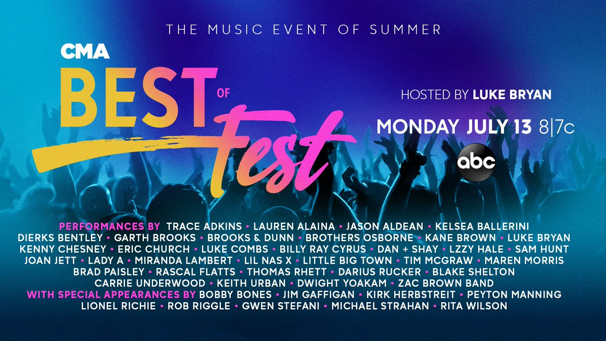 We can't wait for Monday's Best of #CMAFest on ABC! So many great country artists and so much fun. https://t.co/W9fResnuNG