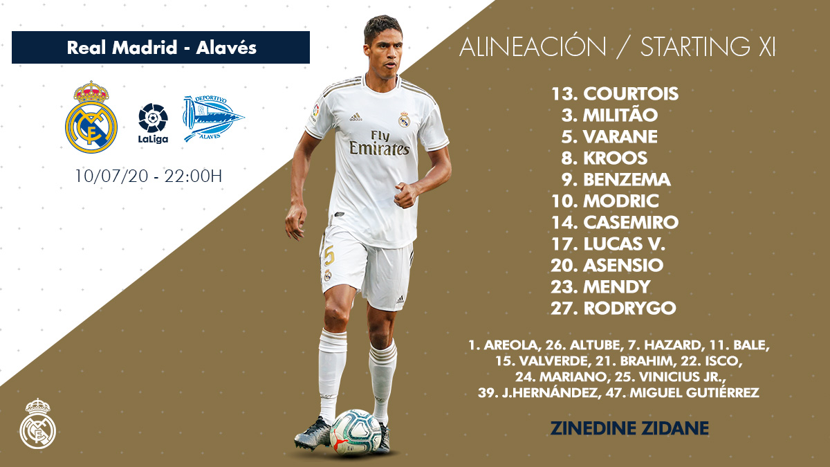 Real Madrid's starting XI against @Alaves   #RealMadridAlaves   https://t.co/fbCiXmzx8a