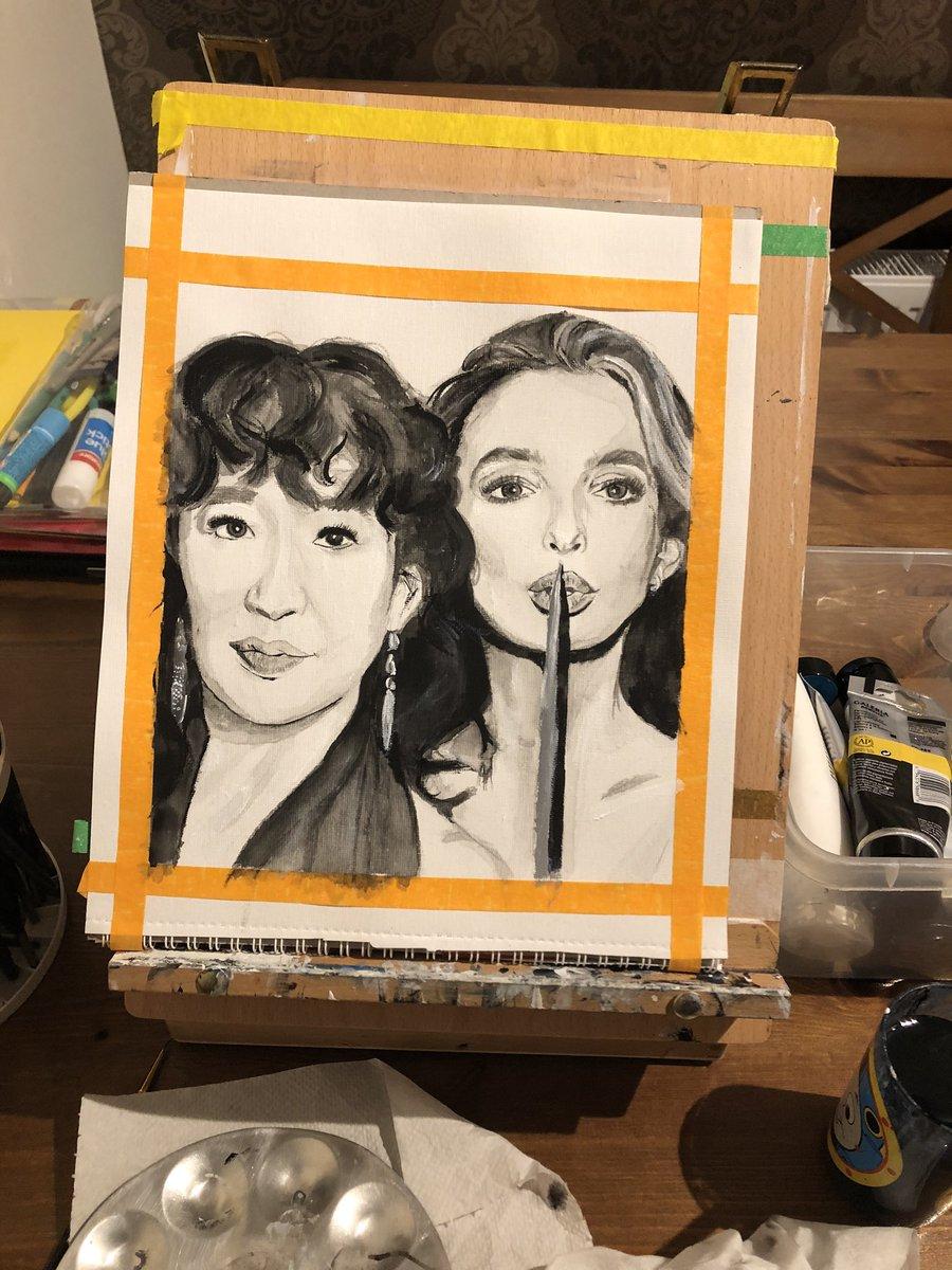 #jodiecomer #killingeve #sandraoh #villainelle #painting #art #artshare #artwork #acrylicpainting #portrait #blackandwhiteart pic.twitter.com/256VoHNQGl
