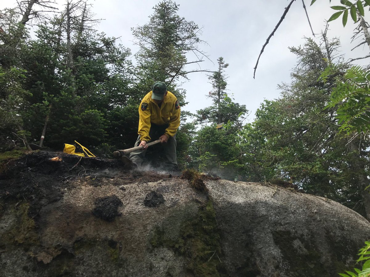 Working on a wildfire at the summit of Emmons today. Another careless campfire.