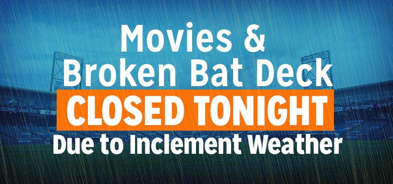 """Due to inclement weather and soggy field conditions the showing of """"Frozen II"""" has been canceled tonight. In addition, the Broken Bat Craft Beer Deck Bar & Grill is also closed tonight. Hope to see you tomorrow for our second showing of """"Frozen II!"""" 🌧☔ https://t.co/AFQoJJMUZC"""