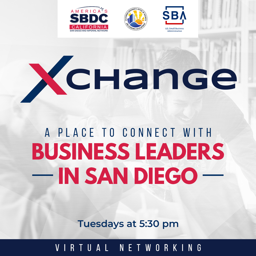 XChange is a place to connect with business leaders in San Diego.    Tuesday July 21st from 5:30 p.m. a 7:00 p.m.  #sdsbdc #sbdc #sandiegolife #sandiegoliving #sdlife  #smallbusinessowner #networking #businessnetworking #freenetworking #networkingevent https://t.co/03smiyzkrD
