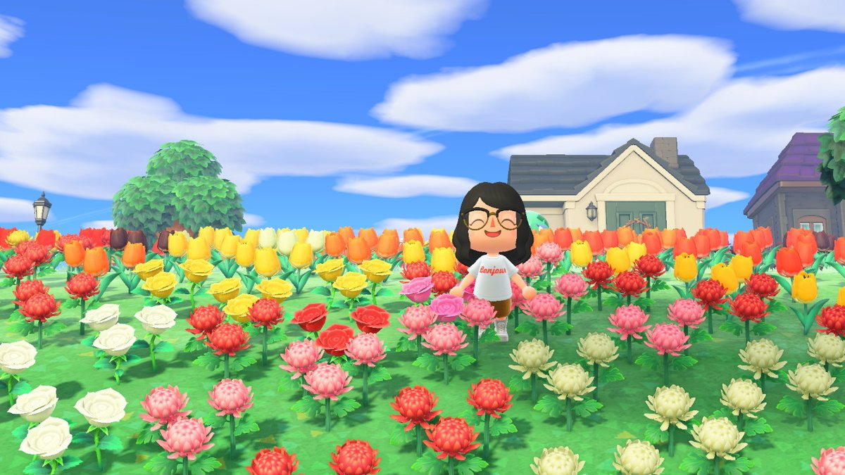 hey it won't stop raining and i have a ton of flowers to give away, hybrids too! #AnimalCrossing #ACNH https://t.co/so3CEy1K0E