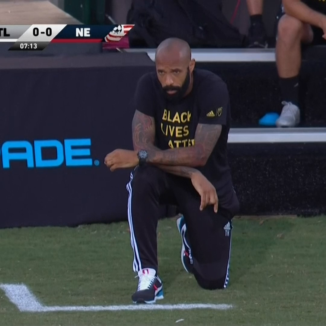 Thierry Henry took a knee for exactly 8 minutes and 46 seconds in memory of George Floyd. https://t.co/ZxthuNqPRB