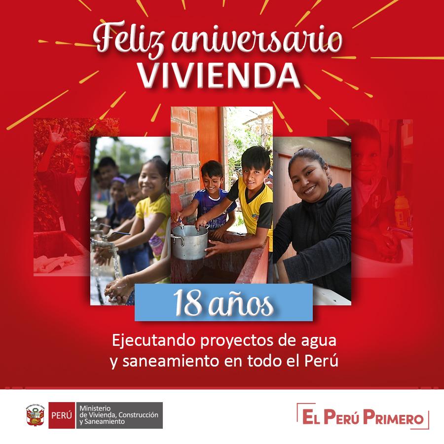 Seguimos comprometidos en brindar servicios básicos de calidad a más familias peruanas, y continuar cerrando las brechas en agua y saneamiento de las poblaciones vulnerables. ¡Cumplimos 18 años trabajando por un mejor país! 🇵🇪💪 #FelizAniversarioVivienda #18AñosContigo https://t.co/jm8FM7hrtM