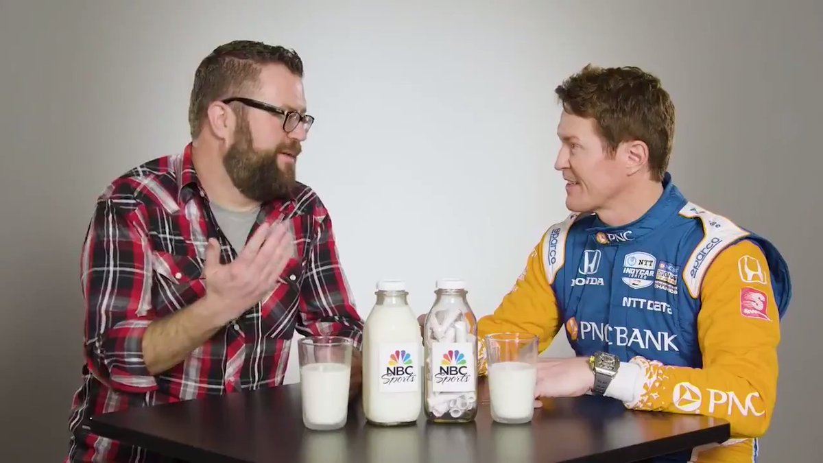Hes won the first two @IndyCar races this year, but can he answer questions from a milk bottle? @ScottDixon9 joined @RutledgeWood to find out.