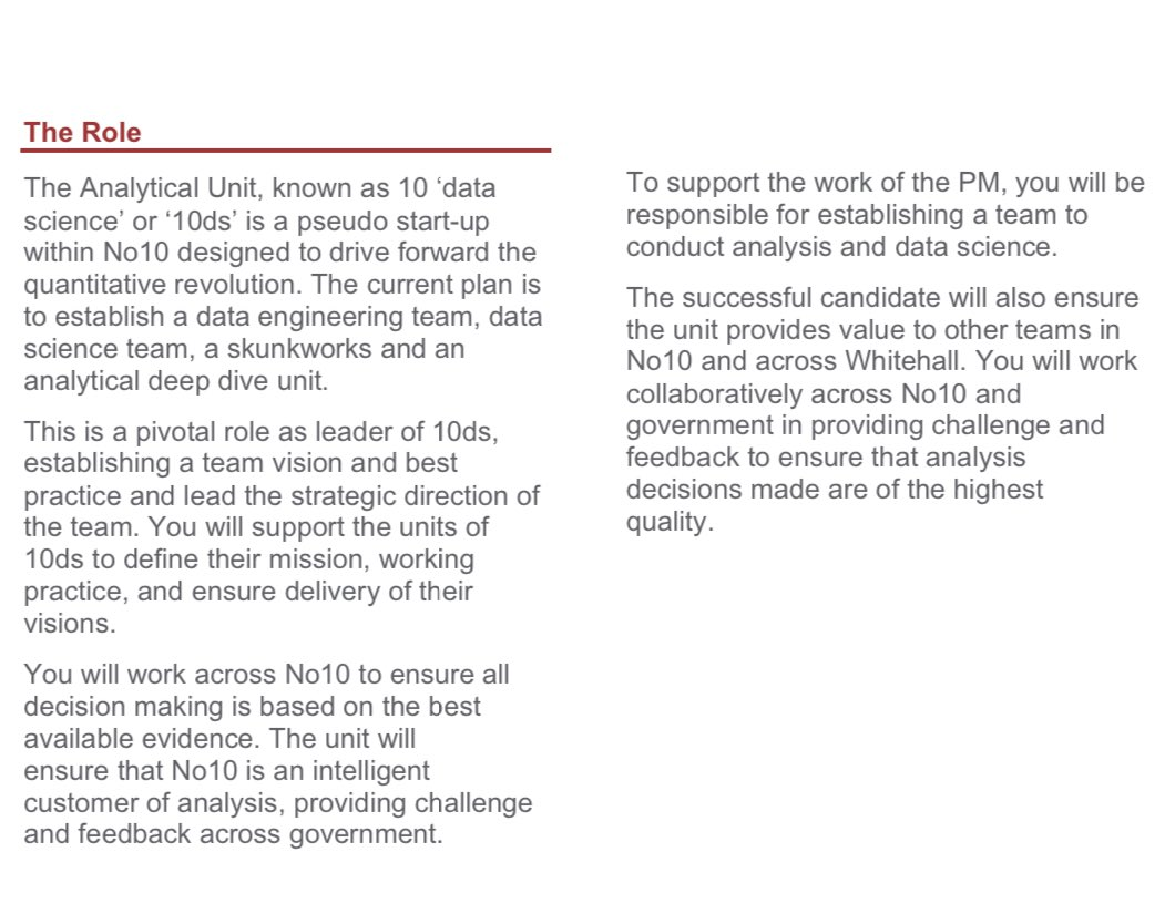 Job! Head of the No 10 Analytical Unit. Offering direct counsel to the PM, so would be wonderful for everyone in the UK if this job went to someone who knows and cares about #dataethics and algorithmic justice. Civil service job but open to external candidates. https://t.co/pnCG1xzC4t