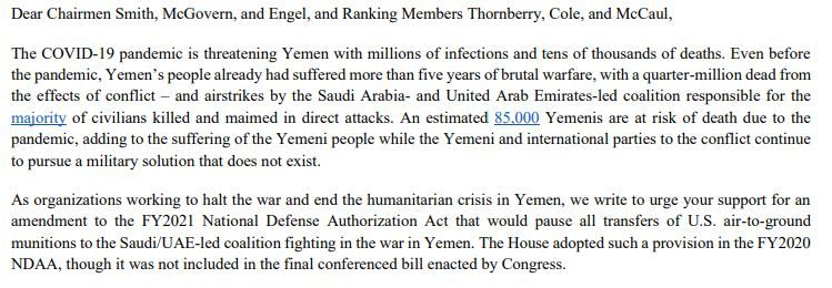 A five-year war has already created an unimaginable humanitarian crisis in #Yemen. The pandemic will make it even worse. We signed on to this letter with 19 other orgs calling on House leadership to halt bomb/missile sales to the Saudi coalition: https://t.co/YUQBoCyqbk https://t.co/PJIWj4dmPi