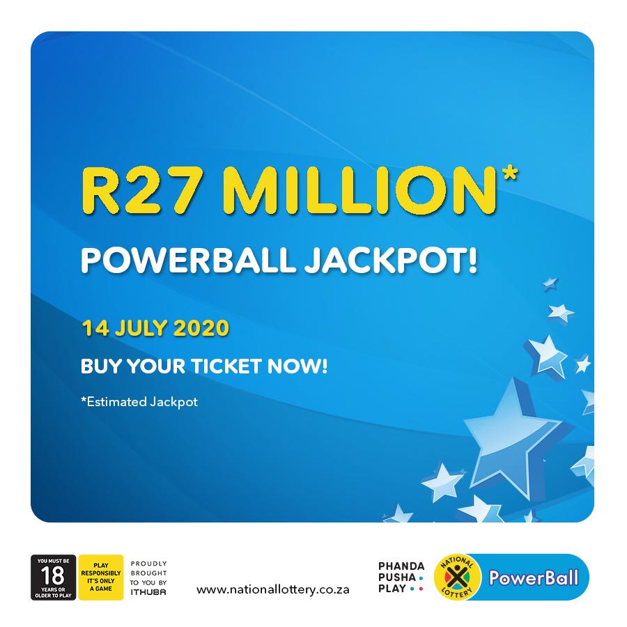 PowerBall & PowerBallPLUS estimated jackpots: PB: R27 Million PBP: R2 Million for 14/07/20! #PhandaPushaPlay Now bit.ly/LottoRegister