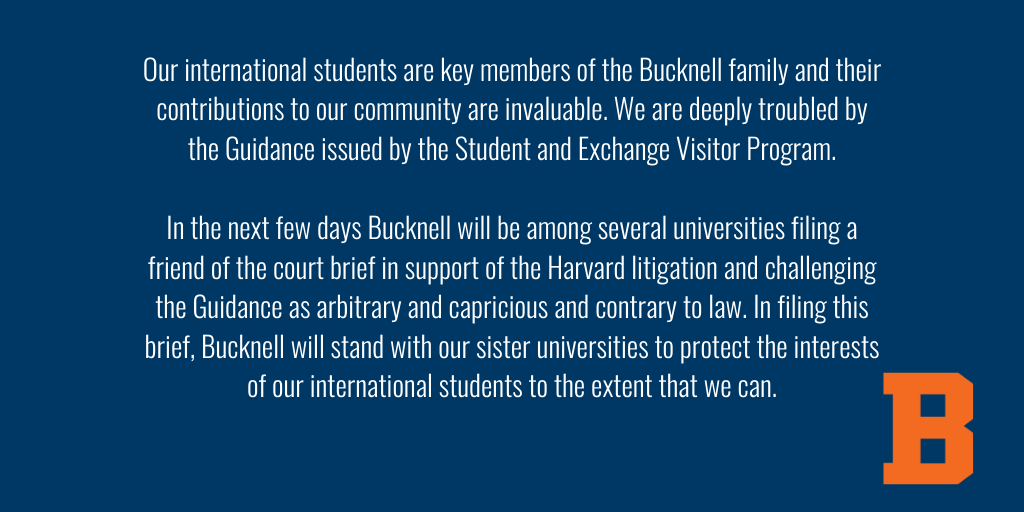 We stand with our international students. ⬇️  Bucknell's International Student Services (ISS) staff are available to assist students with questions and can be reached at iss@bucknell.edu. https://t.co/jbdlzlBd6O