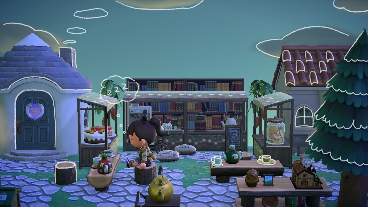 it's always the most peaceful at dawn 💤 the library cafe has me dozin' off early in the morningi tried a new screenshot style i've been seeing and i really like the doodles! how about you?#acnh #AnimalCrossingNewHorizons #animalcrossing #マイデザイン #どうぶつの森