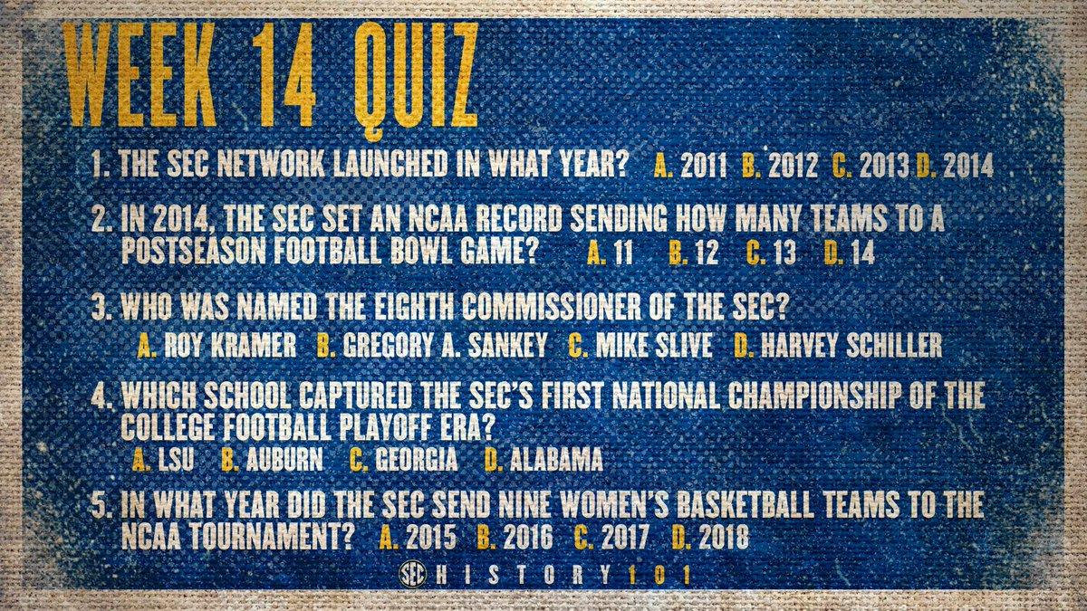 It's that time of the week again... @SEC History 101's Week 14 quiz begins now 📝