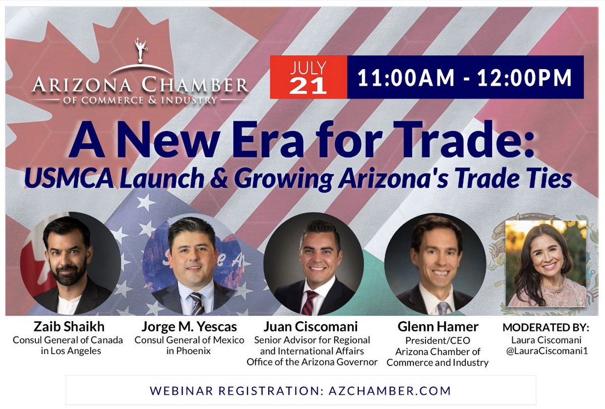 .@AZChamber advocated heavily for the passage of #USMCA (yes, we even changed our @Twitter profile name to #USMCANow). 😆  Join our #webinar 💻 to hear from our superb panel of experts to learn why! @Zaib_Shaikh @jorgem_yescas @JuanCiscomani @GlennHamer   Thread ⬇️ for details.