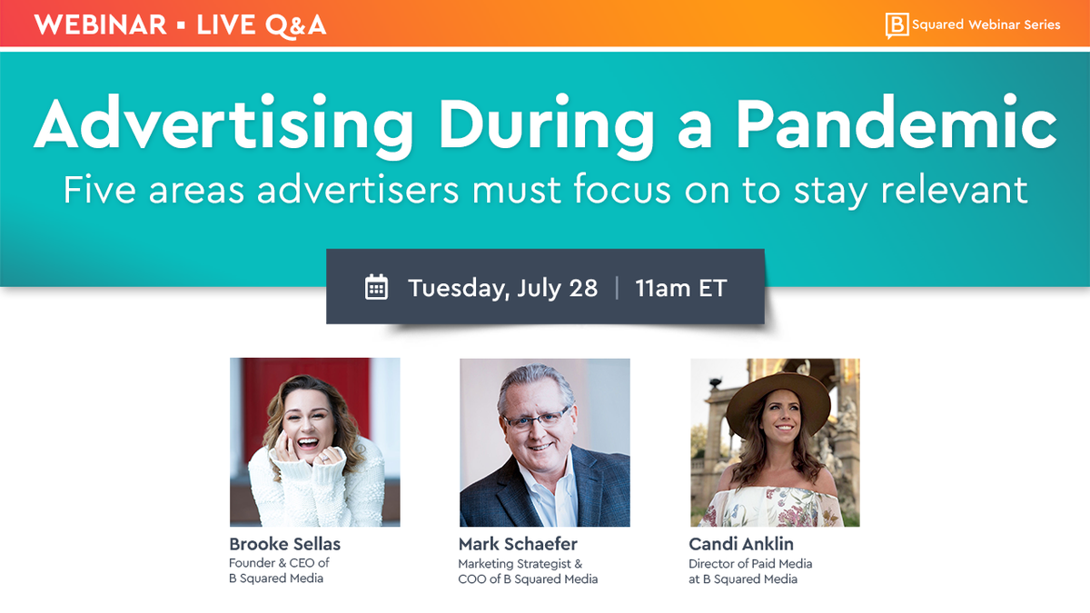 Join me, @BrookeSellas, & @HelloBSquared's Candi Anklin July 28, to learn how advertisers have adapted by carefully studying their consumers & how prioritizing your focus to these 5 #advertising areas can help your #digitaladvertising results. Register ➡️  https://t.co/HfD7WpKCIB https://t.co/Kd2VBcSgsn