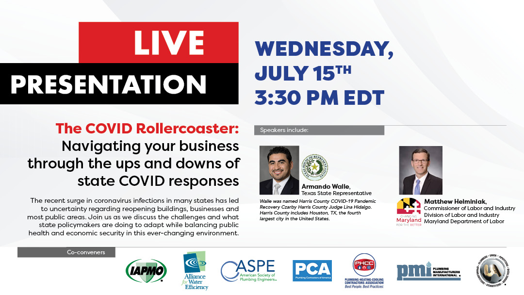 Don't miss The COVID Rollercoaster webinar with our cohosts and partners @IAPMO @A4WE @ASPEorg  @phccnatl @SafePlumbing & @UAPipeTrades this Wednesday, July 15th! https://t.co/iTDAQ6KCzE