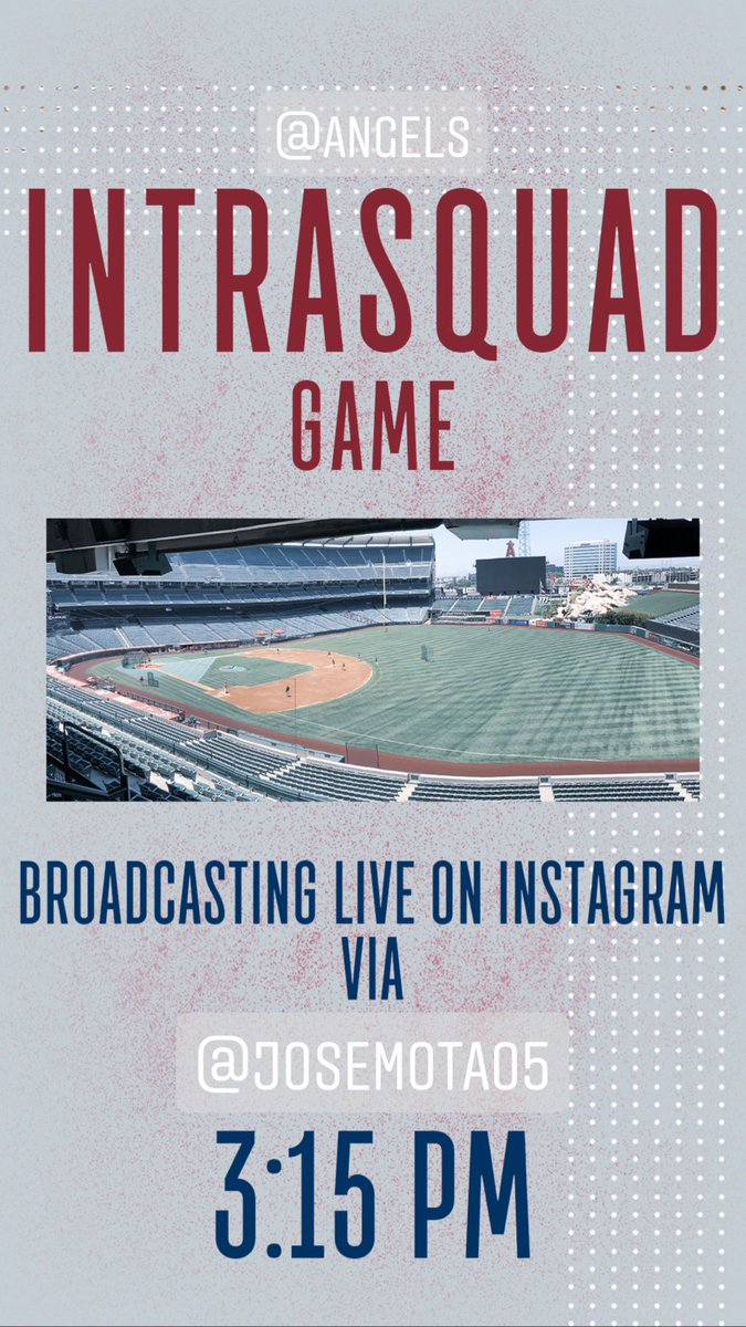 Head over to @JoseMota05's Instagram starting at 3:15 PM for an IG Live of the @Angels Intrasquad game today!  And keep an eye right here after that, for highlights and today's digital report wrap-up! https://t.co/ikl2atyx6O