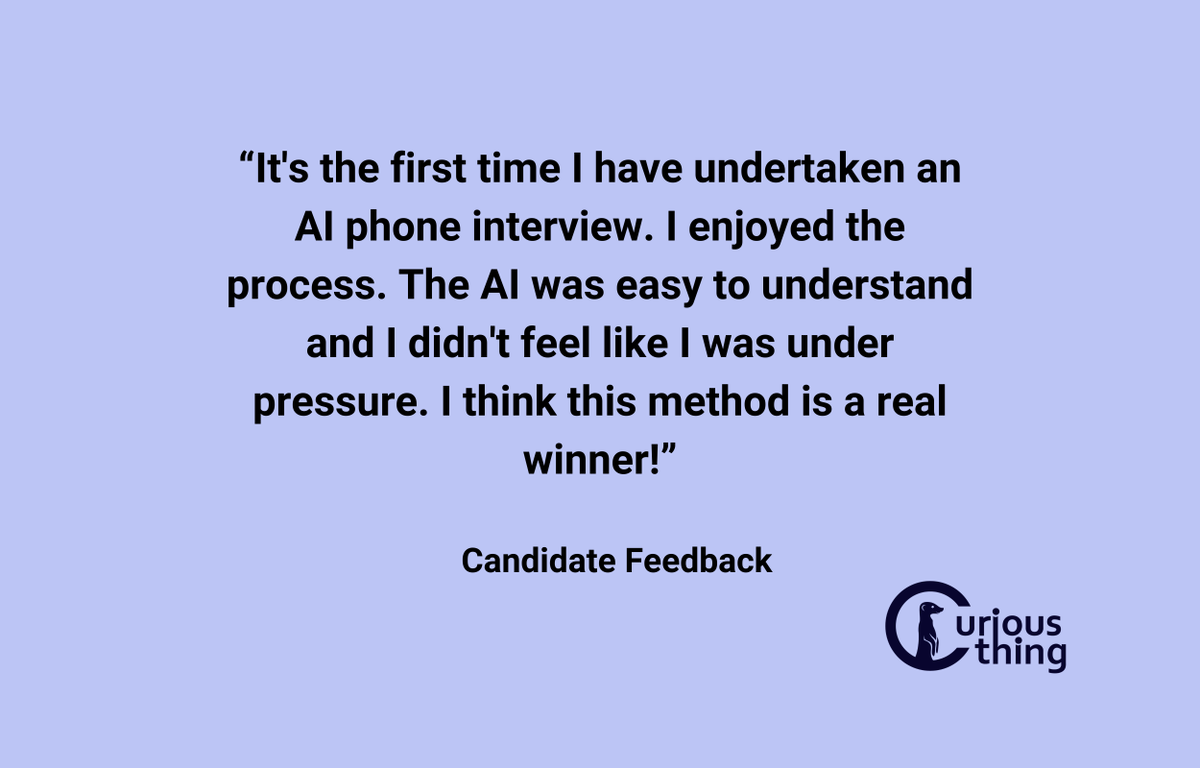 More candidate feedback. Often Curious Thing is a candidate's first exposure to an AI interviewer. We're glad we could make it a positive experience!    #startups #AItech #HRtech https://t.co/PPh7or2TDO