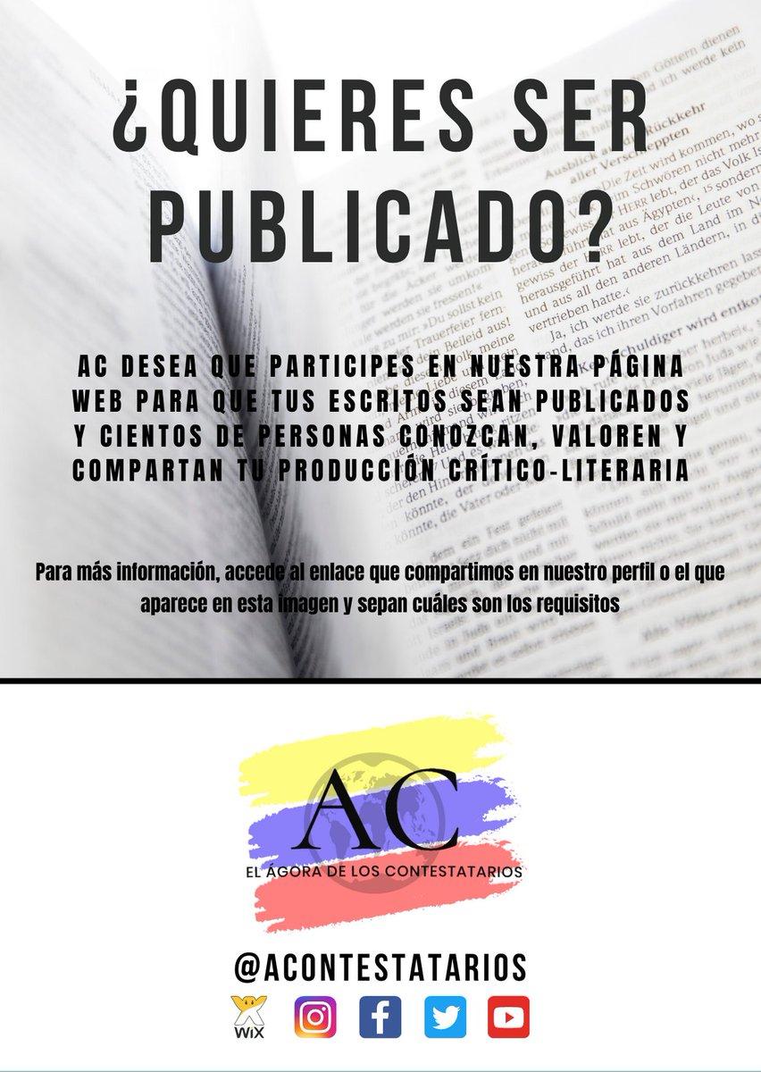 https://agoradeloscontesta.wixsite.com/acontestatarios/convocatorias…  #Poesia #Cuento #LeoYComparto #QueLeer #Leer #LibrosRecomendados #LecturasRecomendadas #Libros #Book #Books #BookPhotography #InstaBook #Bookstagrammer #Bookstagrammers #BookAddict #BookLover #Bookstagram   #BookstagramArg #Bibliophile #Frases #Quotespic.twitter.com/uYkuP0BeM6