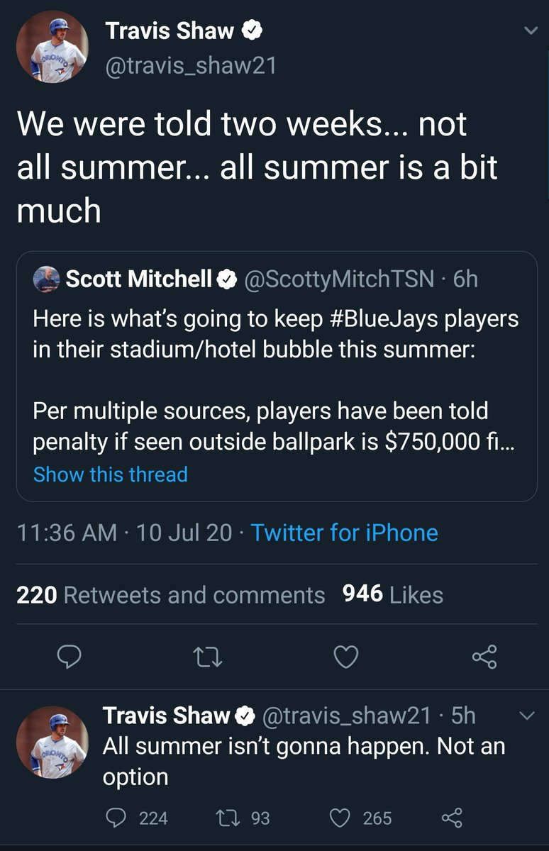 So expect the #BlueJays to be playing in #Buffalo or #Florida  Players not a fan of Canadian bubble and fines/jail time.  #MLB #mlbpa #Toronto #COVID19Ontario #cdnpoli #onpoli https://t.co/RT4rqjQrlR https://t.co/u1sGpYitVq