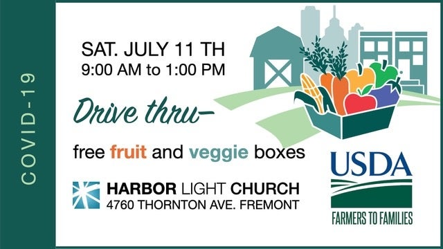 Free fruit and veggie boxes tomorrow at Harbor Light Church. 9 AM - 12 PM. https://t.co/fz6PGqI5rc
