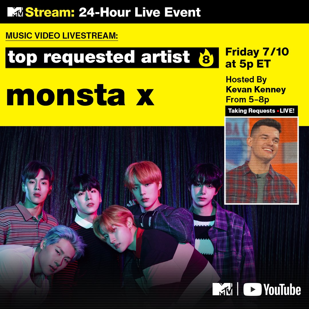 Monsta X are currently the most requested artist on the @MTV #FridayLivestream! Join in the chat and drop your requests for Monsta X 🔥🔥🔥 youtu.be/FGPb6vBhFac @KevanKenney