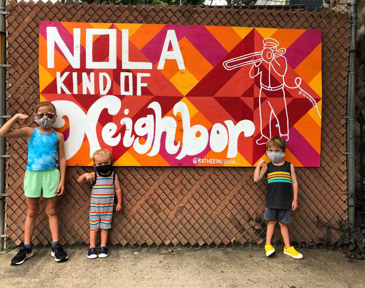 Won't You Be Our Neighbor  :::  Beautiful collaborative art piece from Katherine Socha & Jiwon Hwang in the Plywood Project NOLA series across our city.  #maskupnola #nolakindofneighbor #plywoodprojectnola #neworleansmurals #theBrickFamily #FollowYourNOLA #AlwaysNewOrleanspic.twitter.com/uBwNjcD17F – at Irish Channel