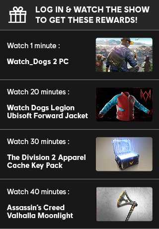 Two days till @Ubisoft's #UbiForward 😱  I'll be co-streaming it with DROPS ENABLED, so check out the image below for what you can earn, including a PC copy of Watch Dogs 2! (thx Ubisoft for sponsoring this segment)  📅 SUNDAY JULY 12th @ 8pm UK TIME 🔗 https://t.co/XWiLgudgDo https://t.co/7Jv1SieXlQ